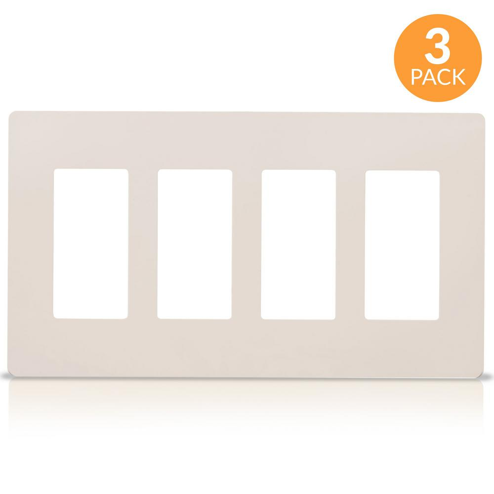 Faith 4-Gang Decorator Screwless Wall Plate GFCI Outlet/Rocker Switch Cover, Light Almond (3-Pack)
