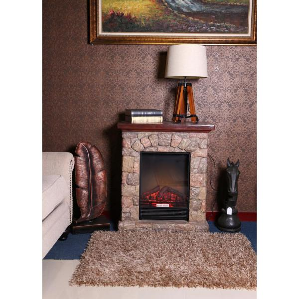 PolyStone Cottage 30.1 in. Freestanding Electric Fireplace Heater Mantel and Remote in Brown