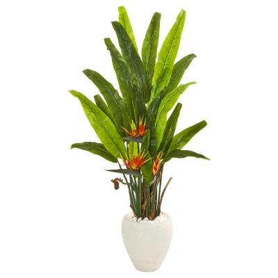 59 in. Bird of Paradise Artificial Plant in White Planter