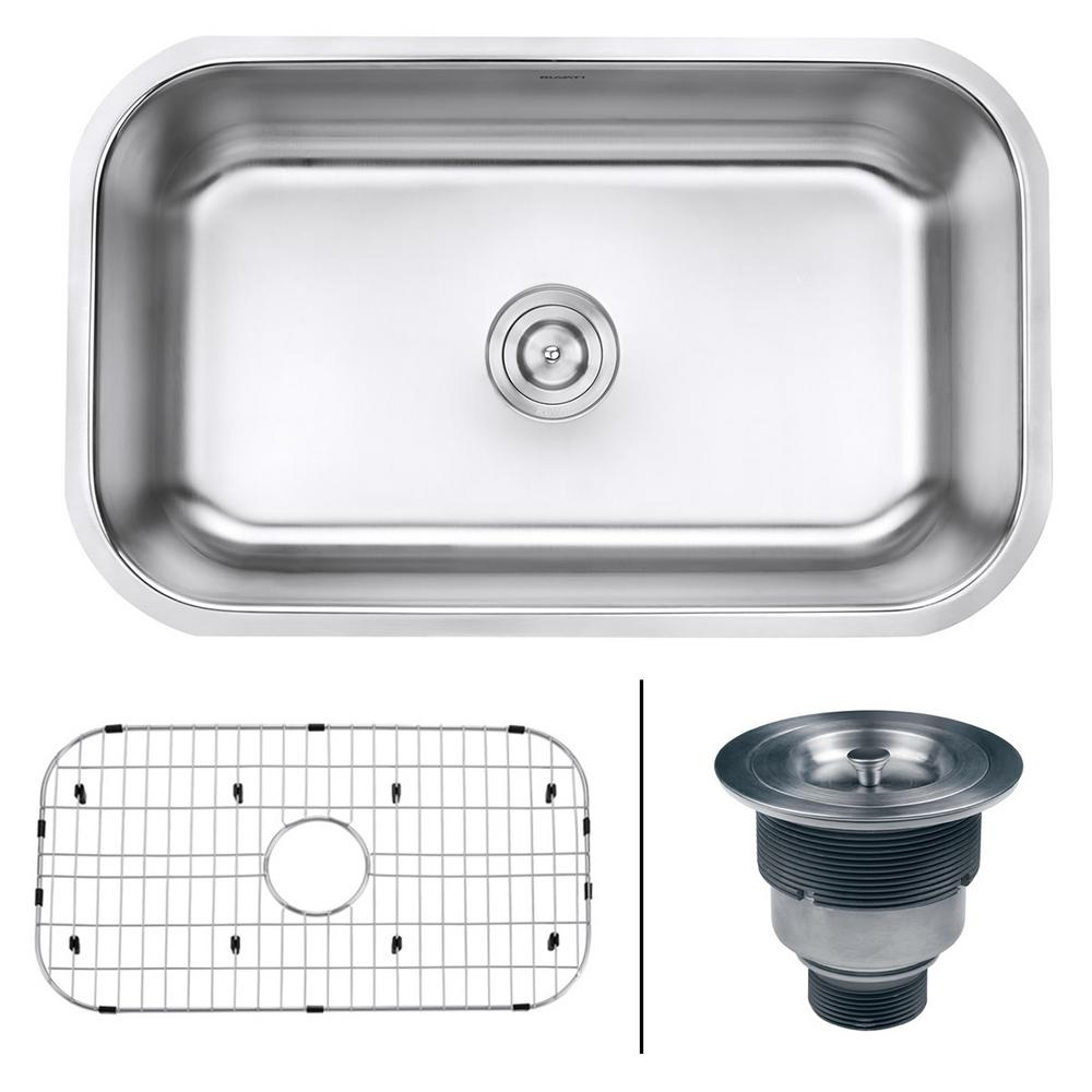 Single Bowl Undermount 16 Gauge Stainless Steel Kitchen Sink