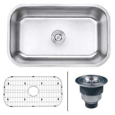 30 in. Single Bowl Undermount 16-Gauge Stainless Steel Kitchen Sink