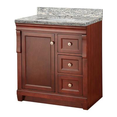 Naples 31 in. W x 22 in. D Vanity in Tobacco with Granite Vanity Top in Santa Cecilia  with White Sink