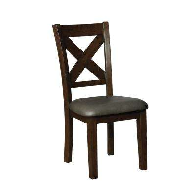 Carpenter Brown Cherry Leatherette X-Side Chair (Set of 2)