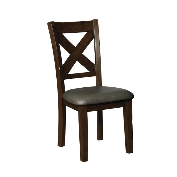 Furniture of America Carpenter Brown Cherry Leatherette X-Side Chair (Set of
