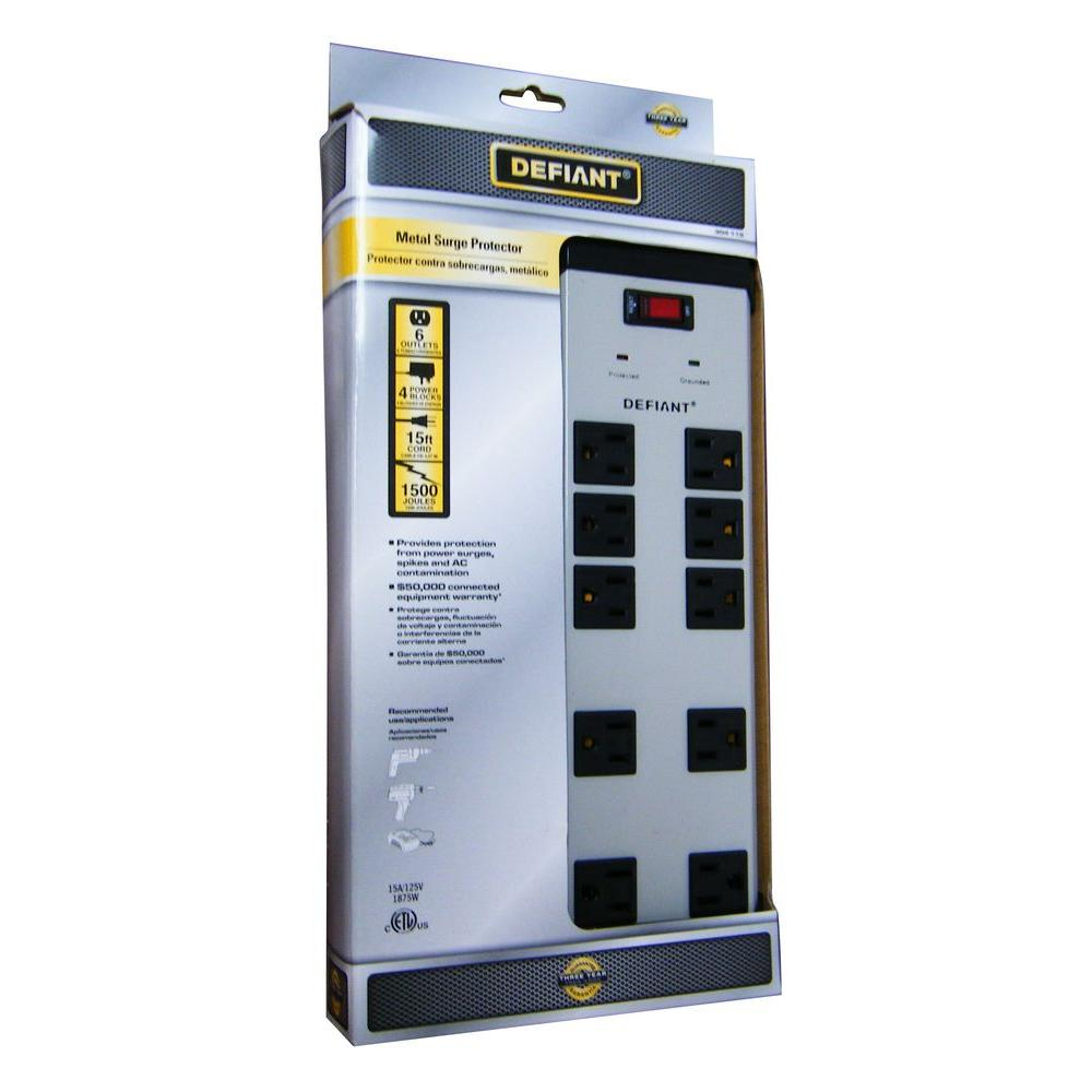 Defiant 10-Outlet Metal Surge Protector with 15 ft. Cord 45 Degree Angle Flat Plug