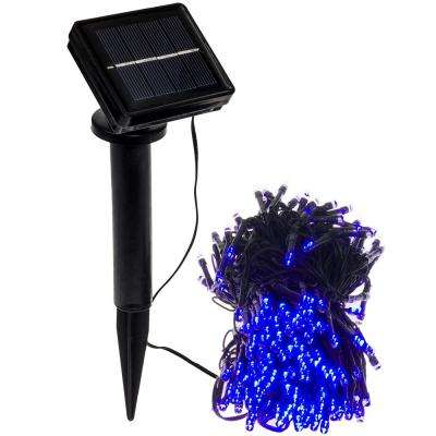 solar powered integrated led blue christmas outdoor string lights