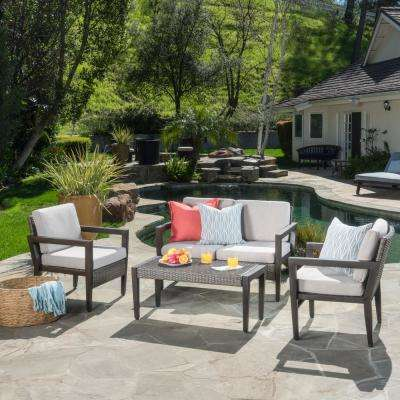 Croatia Brown 4-Piece Wicker Patio Conversation Set with Beige Cushions