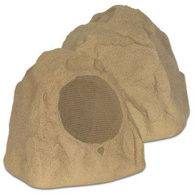 Outdoor Sandstone 8 in. Rock 2-Speaker Set for Yard Deck