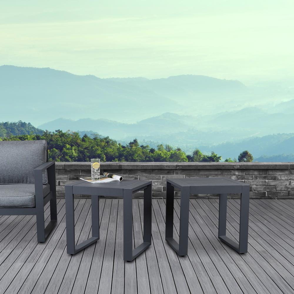Baltic gray square powder coated aluminum outdoor side table set of 2