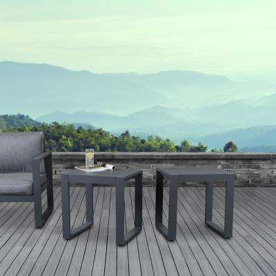 Baltic Gray Square Powder Coated Aluminum Outdoor Side Table (Set of 2)