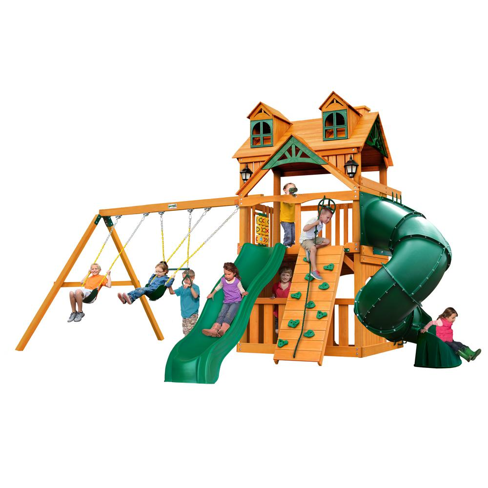 Gorilla Playsets Mountaineer Clubhouse Wooden Swing Set with Malibu Wood Roof and Tube Slide