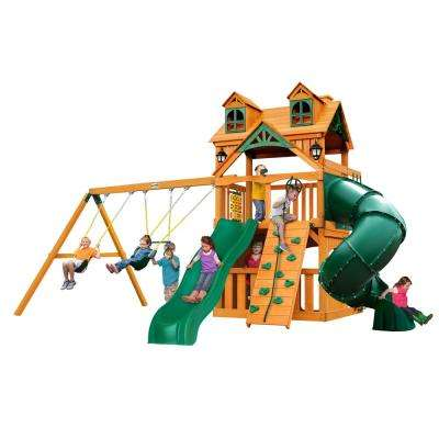 Mountaineer Clubhouse Wooden Swing Set with Malibu Wood Roof and Tube Slide
