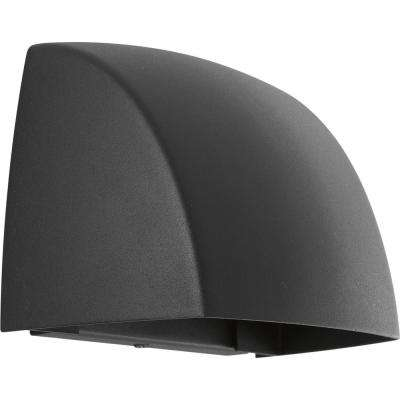 Cornice Collection 1-Light Black Outdoor Integrated LED Wall Mount Lantern