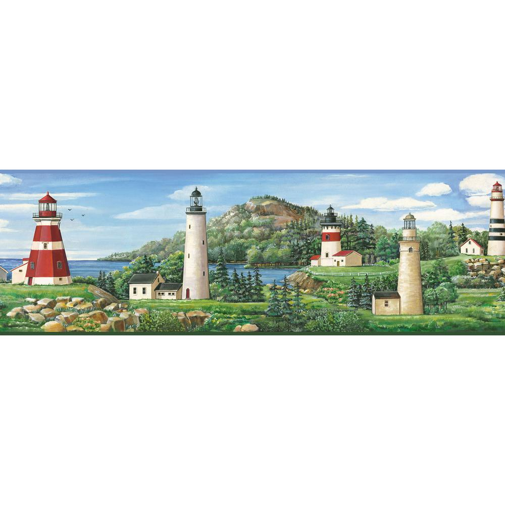 Gilead Green Lake Lighthouse Portrait Green Wallpaper Border