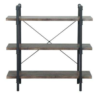 Indiana Industrial Dark Brown 3-Tier Faux Wood Shelf with Metal Frame