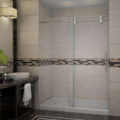 Langham 60 in. x 77-1/2 in. Completely Frameless Sliding Shower Door in Chrome with Left Base