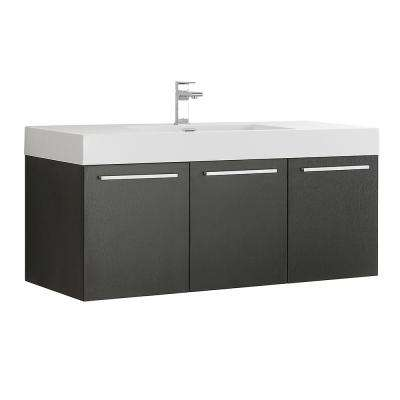 Vista 48 in. Modern Wall Hung Bath Vanity in Black with Vanity Top in White with White Basin