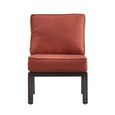Thoren Aluminum Armless Middle Outdoor Sectional Chair with Red Cushion