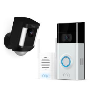 Ring Wireless Video Door Bell 2 with Chime Pro and Spotlight Cam Battery Black by Ring