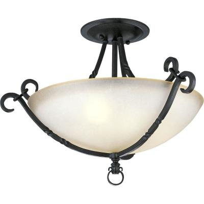 Santiago Collection 3-Light Forged Black Semi-Flush Mount