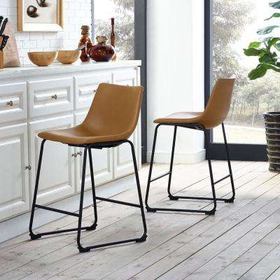 "26"" Faux Leather Counter Stool 2 pack - Whiskey Brown (FPU-31)"
