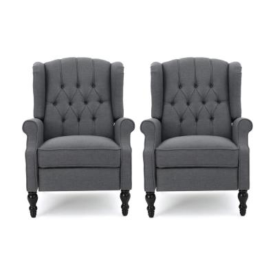 Walter Brown,Charcoal and Dark Brown Wingback Tufted Recliner (Set of 2)