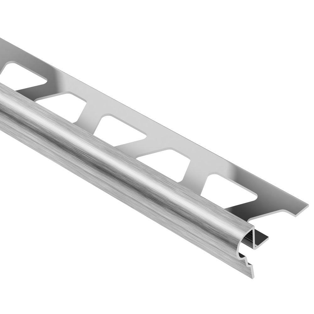 Schluter Trep-FL Brushed Stainless Steel 7/16 in. x 8 ft. 2-1/2 in. Metal Stair Nose Tile Edging Trim