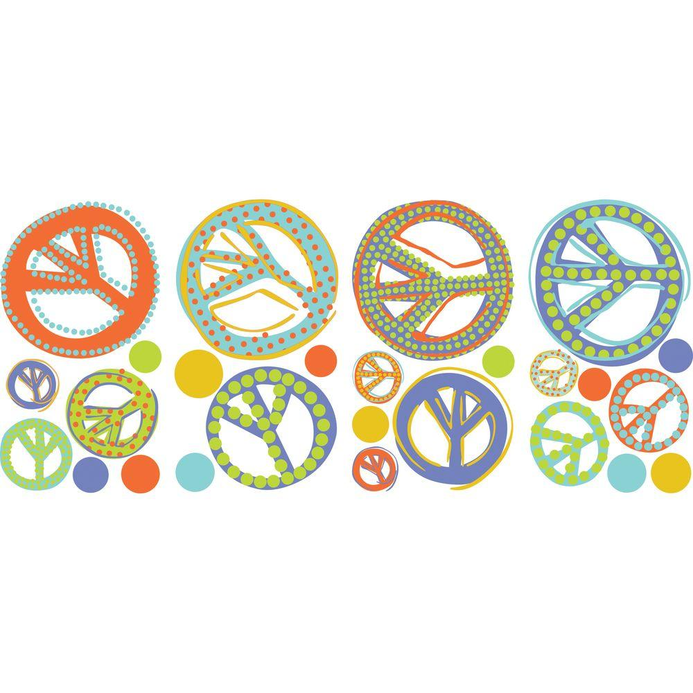 RoomMates Mod Peace Signs Peel and Stick Wall Decal