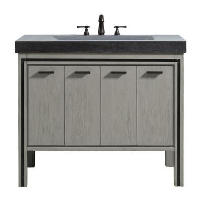 Dexter 43 in. W x 22 in. D x 35 in. H Bath Vanity in Rustic Gray with Granite Integrated Vanity Top in Dark Gray