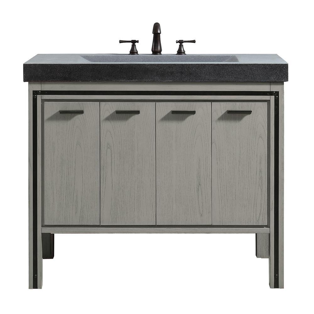 Dexter 43 in. W x 22 in. D x 35 in. H Bath Vanity in Rustic Gray with Granite Integrated Vanity Top in Dark Gray