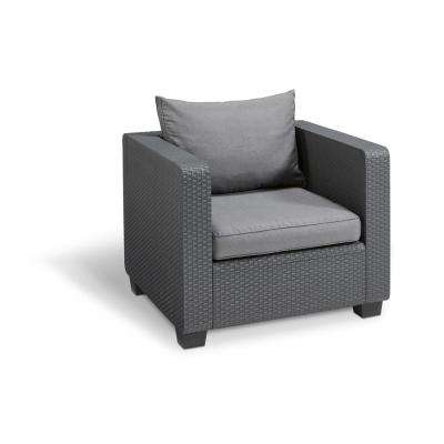 Salta Graphite All-Weather Resin Plastic Outdoor Lounge Chair with Flanelle Cushions