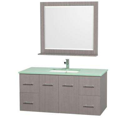 Centra 48 in. Vanity in Grey Oak with Glass Vanity Top in Aqua and Square Porcelain Undermounted Sink and Mirror