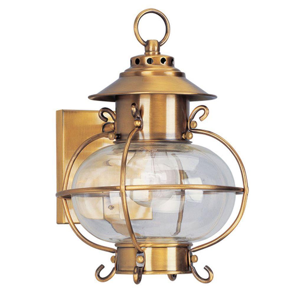 Providence Wall-Mount 1-Light Flemish Brass Outdoor Incandescent Lantern