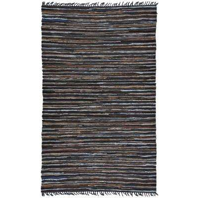 Mixed Brown Leather 21 in. x 34 in. Accent Rug