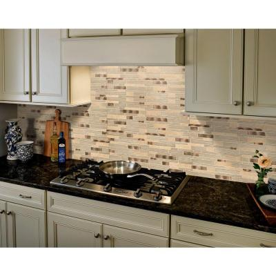 Champagne Toast Interlocking 12 in. x 12 in. x 4 mm Glass Metal Stone Mesh-Mounted Mosaic Tile (1 sq. ft.)