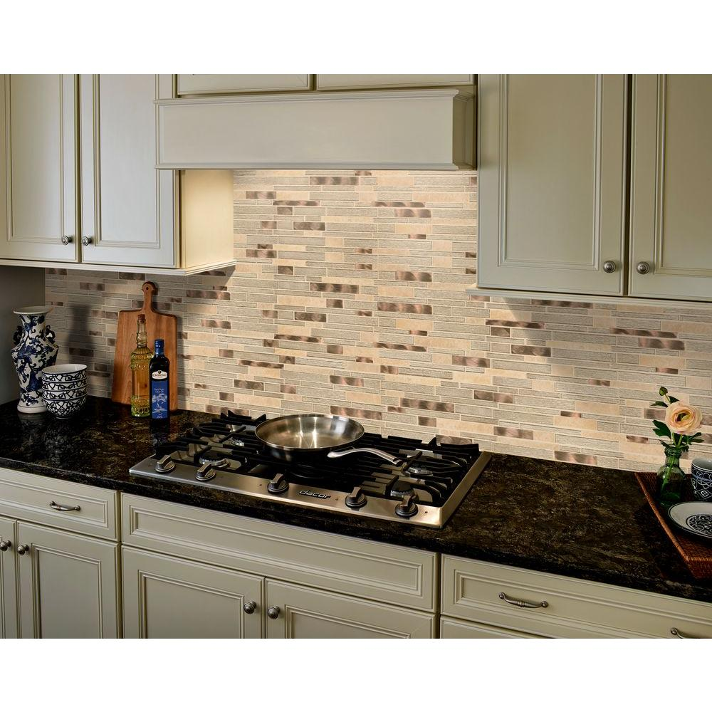 MSI Champagne Toast Interlocking 12 In. X 12 In. X 4mm Glass Metal Stone  Mesh Mounted Mosaic Tile SGLSMTIL CHATST   The Home Depot