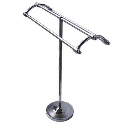 Pedestal Round Plate Towel Rack in Chrome