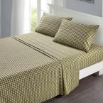 Alexander 4-Piece Olive Geometric 300 Thread Count Cotton Full Sheet Set