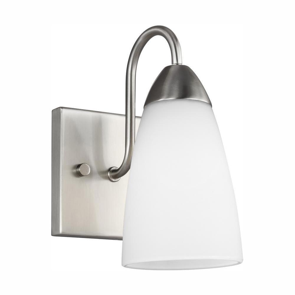Seville 1-Light Brushed Nickel Sconce with LED Bulb