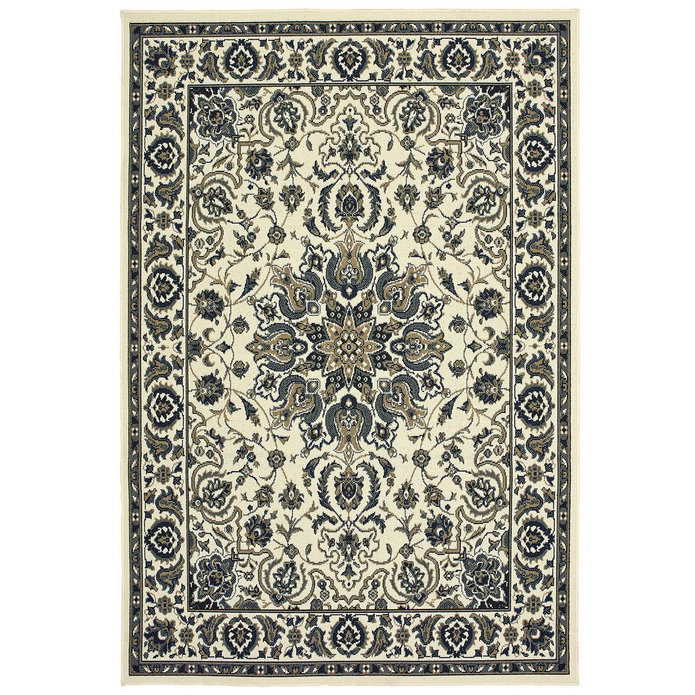 Sienna Oriental Ivory Navy 3 Ft 7 In X 5 Ft 6 In Indoor Outdoor Area Rug 821070 The Home Depot