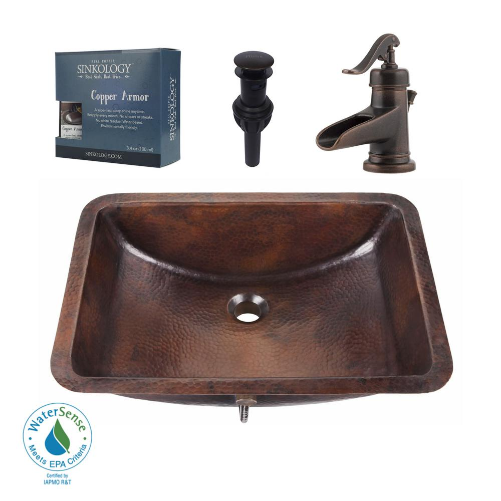 Sinkology Pfister All In One Curie Undermount Bathroom Sink Design Kit Aged Copper