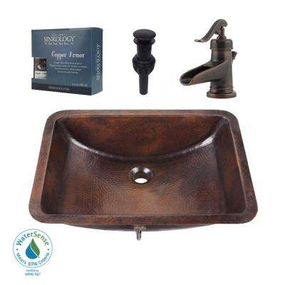 Pfister All-In-One Curie Undermount Bathroom Sink Design Kit in Aged Copper with Centerset Rustic Bronze Faucet