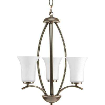 Joy Collection 3-Light Antique Bronze Foyer Pendant with Etched White Glass