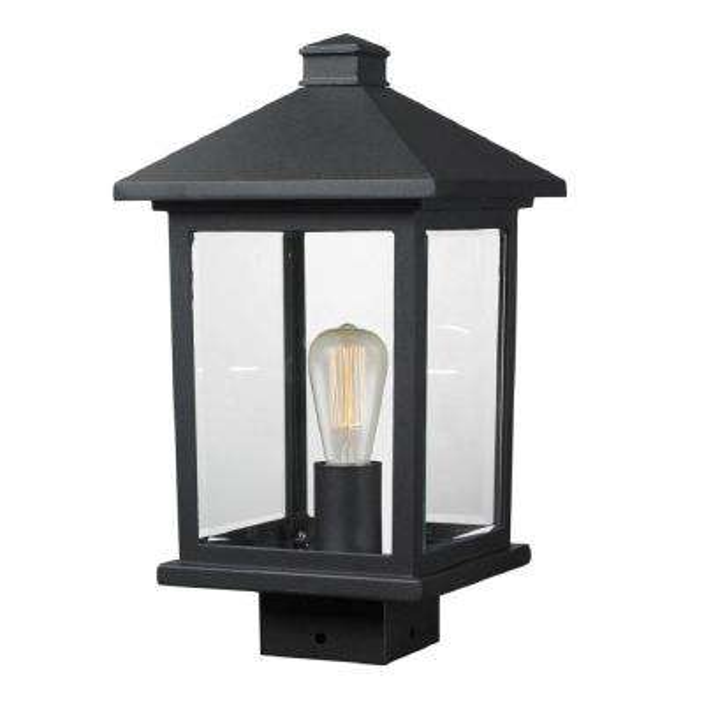 Malone 1-Light Outdoor Black Post Mount Light
