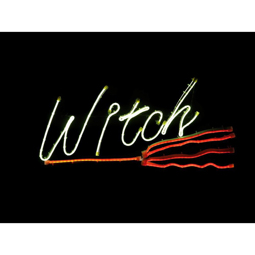 Home Accents Holiday 12 in. Neon Witch LED Halloween Sign with Flashing Broom