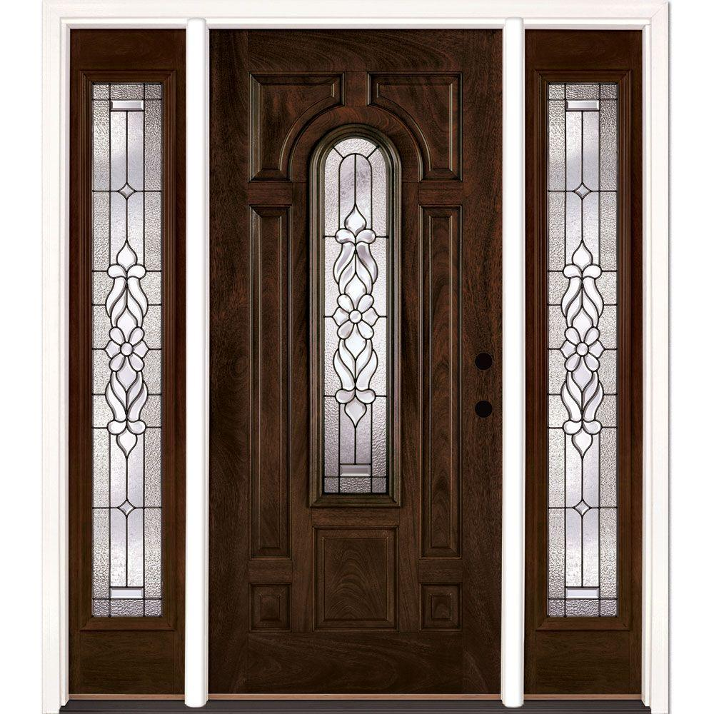 Feather River Doors 63.5 in. x 81.625 in. Lakewood Patina Stained Chestnut Mahogany Left-Hand Fiberglass Prehung Front Door with Sidelites