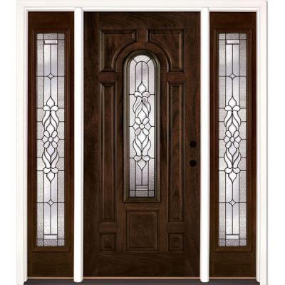 63.5 in. x 81.625 in. Lakewood Patina Stained Chestnut Mahogany Left-Hand Fiberglass Prehung Front Door with Sidelites