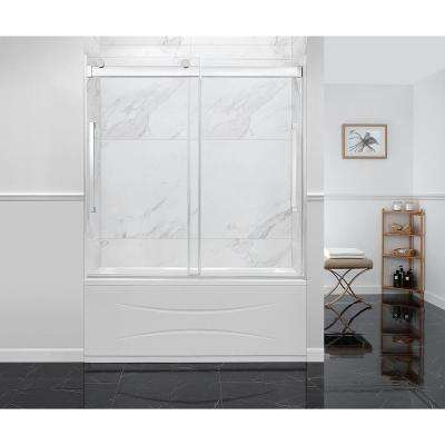 Montebello 60 in. x 59 in. Frameless Sliding Bathtub Door in Chrome with Handle