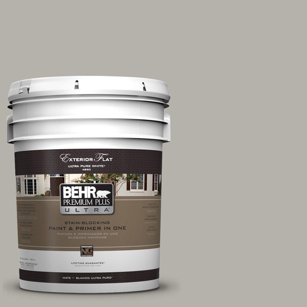 BEHR Premium Plus Ultra 5-gal. #UL200-7 Silver Tinsel Flat Exterior Paint