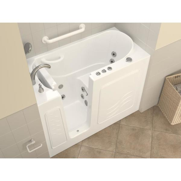 Universal Tubs Hd Series 53 In Left Drain Quick Fill Walk In Whirlpool Bath Tub With Powered Fast Drain In White Hd2653lwh The Home Depot